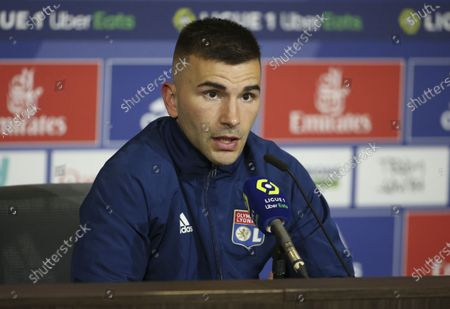 Goalkeeper of Lyon Anthony Lopes answers to the media