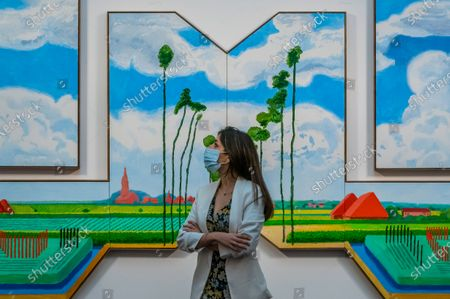 David Hockney, Tall Dutch Trees After Hobbema (Useful Knowledge) 2017, 2017, est. £6.5-8.5 million - Sotheby's preview of the Modern Renaissance sales, which span over 500 years of art history at the New Bond Street Galleries.
