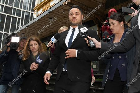 Stock Photo of Jarryd Hayne (C) leaves Downing Centre District Court after a day of his trial in Sydney, Australia, 22 March 2021. Former NRL rugby player Jarryd Hayne has been found guilty of sexual assault during a retrial.