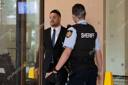 Jarryd Hayne (C) arrives at Downing Centre District Court for a day of his trial in Sydney, Australia, 22 March 2021. Former NRL rugby player Jarryd Hayne has been found guilty of sexual assault during a retrial.