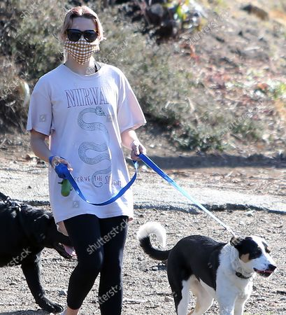 Ava Elizabeth Phillippe wakling the dogs while hiking