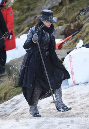 Suranne Jones films the latest scenes for Gentleman Jack on the Yorkshire Moors that have been dressed with fake snow to look like scenes in the alps.
