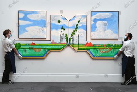 """Tall Dutch Trees After Hobbema (Useful Knowledge) by David Hockney, 2017, est. £6.5-8.5 million, on sale in a livestreamed event at Sotheby's, """"Modern Renaissance: A Cross-Category Sale"""" taking place on March 25."""