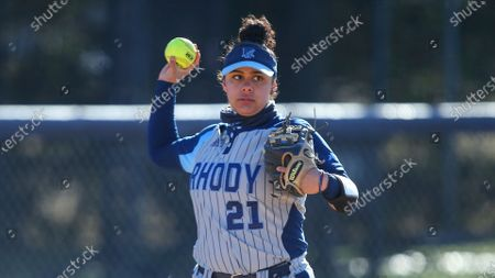 Rhode Island's Ari Castillo (21) during an NCAA softball game against Holy Cross, in Kingston, R.I