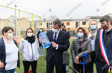 Guests, Olivier Veran, Marie Guevenoux and Damien Allouch. French Health and Social Affairs Minister Olivier Veran and French Junior Sports Minister Roxana Maracineanu meet an adapted physical activity structure APA de Geants which allows chronically ill people to practice sport in their therapeutic journey.