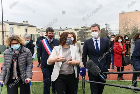 Stock Picture of Marie Guevenoux, Damien Allouch, Roxana Maracineanu and Olivier Veran.  French Health and Social Affairs Minister Olivier Veran and French Junior Sports Minister Roxana Maracineanu meet an adapted physical activity structure APA de Geants which allows chronically ill people to practice sport in their therapeutic journey.