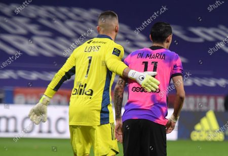 Angel Di Maria and Anthony Lopes during the French League One soccer match between Lyon and PSG