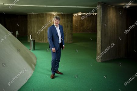 Stock Picture of Fabien Roussel National Secretary of the French Communist Party at the headquarters of the PCF Place du Colonel Fabien Paris, March, 2021.