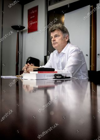 Fabien Roussel National Secretary of the French Communist Party at the headquarters of the PCF Place du Colonel Fabien Paris, March, 2021.