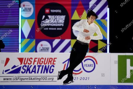 "Nathan Chen competes during the men's short program at the U.S. Figure Skating Championships in Las Vegas. As Nathan Chen seeks a third straight World Figure Skating Championships title, something no American has achieved since Scott Hamilton got his fourth in a row in 1984, he has two major challenges in front of him. One is two-time Olympic gold medalist Yuzuru Hanyu of Japan, who Chen calls ""the benchmark."" The other is idleness in major competitions forced by the coronavirus pandemic"