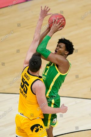 Editorial photo of NCAA Oregon Iowa Basketball, Indianapolis, United States - 22 Mar 2021