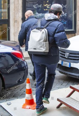 Pietro Castellitto while walking away from the set of his latest film.