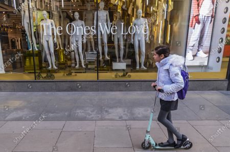 Editorial picture of Top Shop on Oxford Street has now been emptied of clothes after going out of business partly as a result of the pandemic., Oxford Street, London, UK - 22 Mar 2021