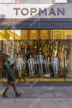 Editorial photo of Top Shop on Oxford Street has now been emptied of clothes after going out of business partly as a result of the pandemic., Oxford Street, London, UK - 22 Mar 2021