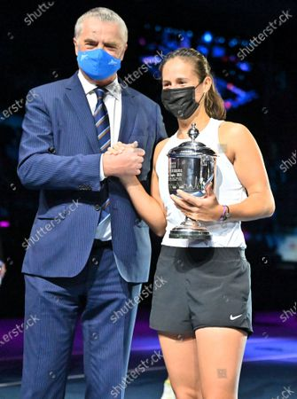 General Director of St. Petersburg Open Alexander Medvedev (left) and Russian tennis player Daria Kasatkina (right) during the awards ceremony for the tournament winners