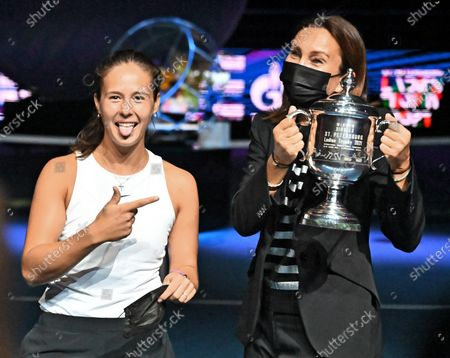 Russian tennis player Daria Kasatkina (left) during the awards ceremony for the tournament winners