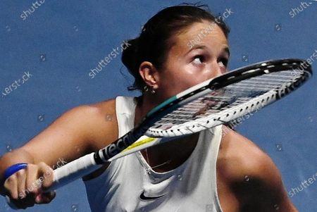 Russian tennis player Daria Kasatkina during a match with Russian tennis player Margarita Gasparyan
