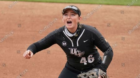 Central Florida's Shannon Doherty communicates with teammates during an NCAA college softball game against South Carolina, in Columbia, S.C. South Carolina won 4-2