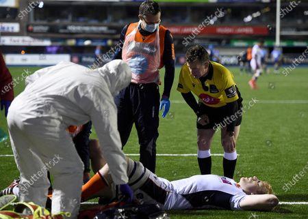 Stock Image of Cardiff Blues vs Edinburgh. Referee Nigel Owens checks as Edinburgh's Andrew Davidson receives treatment