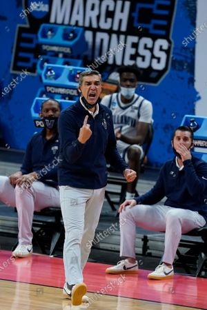 Stock Picture of Villanova head coach Jay Wright watches during the second half of a second-round game against North Texas in the NCAA men's college basketball tournament at Bankers Life Fieldhouse, in Indianapolis