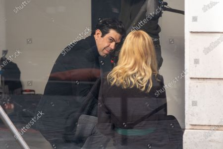 Editorial photo of Pierfrancesco Favino and Kelly Reilly on movie set, Rome, Italy - 22 Mar 2021