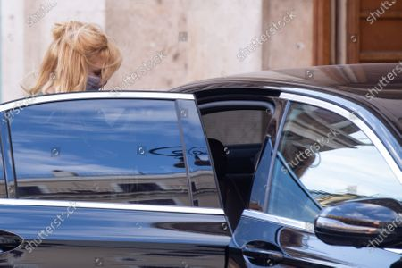 British actress Kelly Reilly gets into the car after finishing shooting the film