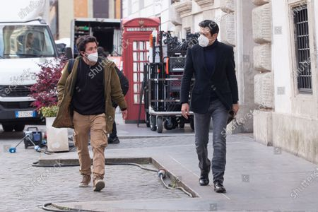 Italian actor Pierfrancesco Favino walks after shooting the film