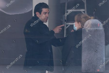 "Stock Photo of The Italian actor Pierfrancesco Favino and French director Amanda Sthers in Rome on the set of the film ""Promises"""
