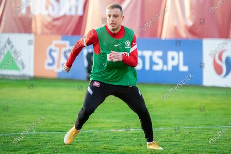 Kamil Grosicki of Poland seen in action during the first official training session of the Polish national football team in 2021.