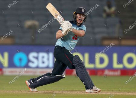 England's captain Eoin Morgan bats during the first One Day International cricket match between India and England at Maharashtra Cricket Association Stadium in Pune, India