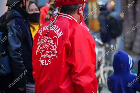Stock Picture of Guardian Angels founder and mayoral candidate Curtis Sliwa gives a presser before heading out to patrol Chinatown following the deadly spa killing of 8 people mostly of asian descent in Atlanta, Georgia