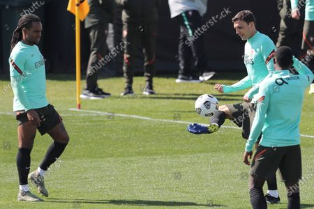 Portugal soccer team players (L-R), Renato Sanches, Joao Palhinha and Nuno Mendes, in action during a training session in Juventus training center in Turin, Italy, 23 March 2021. Portugal will face Azerbaijan in their 2022 FIFA World Cup qualification UEFA Group A soccer match on 24 March 2021.