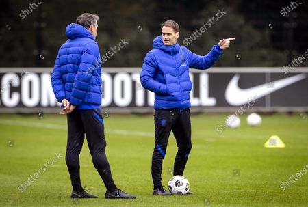 Dutch national soccer team head coach Frank de Boer (R) leads his team's training  session in Zeist, Netherlands, 23 March 2021. The Dutch team will face Turkey in their FIFA World Cup 2022 qualifying soccer match on 24 March 2021.
