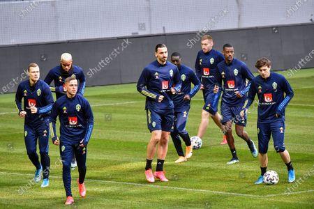 Sweden's national soccer team players (L-R) Viktor Claesson, Robin Quaison, Jesper Karlsson, Zlatan Ibrahimovic, Ken Sema, Dejan Kulusevski, Alexander Isak och Victor NIlsson Lindelof, during a training session