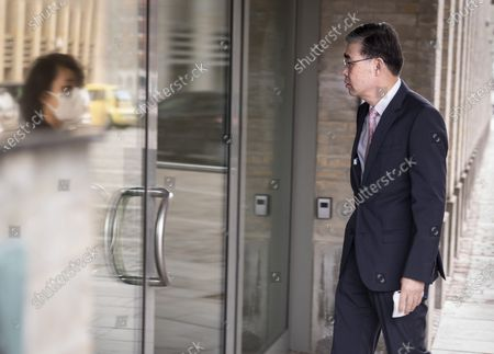 China's Ambassador to Denmark, Feng Tie arrives at the Ministry of Foreign Affairs in Copenhagen, Denmark, 23 March 2021. Denmark's Foreign Minister Jeppe Kofod wrote on Twitter on March 22 that he would meet with the Chinese Ambassador to Denmark after China has announced sanctions against the EU, which includes former Prime Minister Anders Fogh Rasmussen's organization, Alliance of Democracies.