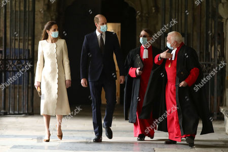 Prince William and Catherine Duchess of Cambridge (left) with The Very Reverend John Hall The Very Reverend Dr David Hoyle (right) and Paul Baumann, Receiver General and Chapter Clerk, arrive for a visit to the vaccination centre at Westminster Abbey, London, to pay tribute to the efforts of those involved in the Covid-19 vaccine rollout.