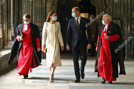 Prince William and Catherine Duchess of Cambridge (centre) with The Very Reverend John Hall The Very Reverend Dr David Hoyle (right) and Paul Baumann, Receiver General and Chapter Clerk, arrive for a visit to the vaccination centre at Westminster Abbey, London, to pay tribute to the efforts of those involved in the Covid-19 vaccine rollout.