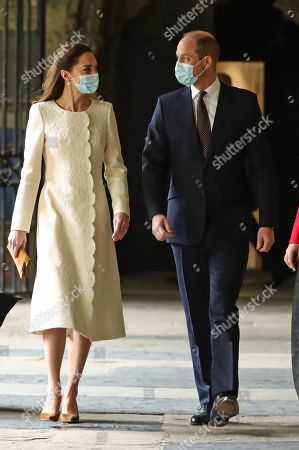 Prince William and Catherine Duchess of Cambridge during a visit to the vaccination centre at Westminster Abbey, London, to pay tribute to the efforts of those involved in the Covid-19 vaccine rollout.