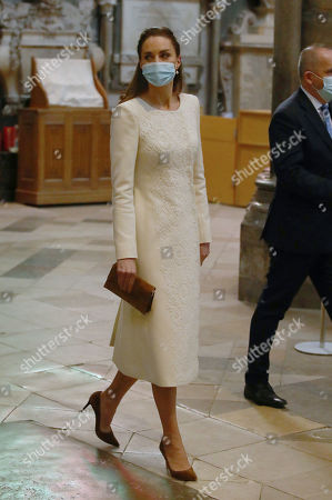 Catherine Duchess of Cambridge arrives for a visit to the vaccination centre at Westminster Abbey, London, to pay tribute to the efforts of those involved in the Covid-19 vaccine rollout.