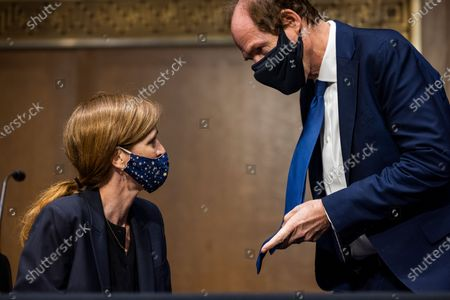 Former US Ambassador to the United Nations Samantha Power (L) chats with her husband, Cass Sunstein (R), prior to testifying before the Senate Foreign Relations Committee be the next Administrator of the United States Agency for International Development (USAID) in the Dirksen Senate Office Building in Washington DC, USA, 23 March 2021.