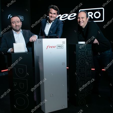 Stock Picture of Xavier Niel, Founder of Free, Thomas Reynaud CEO of Iliad and Kevin Polizzi Director of Free Pro.