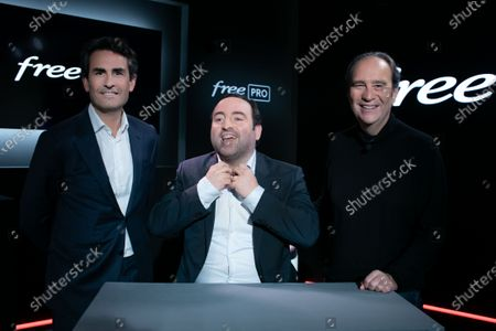 Stock Image of Xavier Niel, Founder of Free, Thomas Reynaud CEO of Iliad and Kevin Polizzi Director of Free Pro.