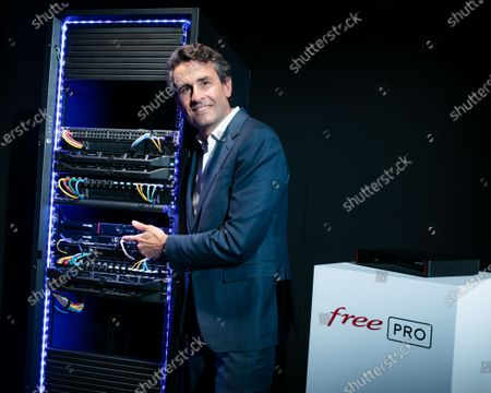 Stock Photo of Thomas Reynaud CEO of Iliad. Xavier Niel, Founder of Free, Thomas Reynaud CEO of Iliad and Kevin Polizzi Director of Free Pro.