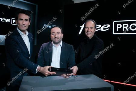 Xavier Niel, Founder of Free, Thomas Reynaud CEO of Iliad and Kevin Polizzi Director of Free Pro.