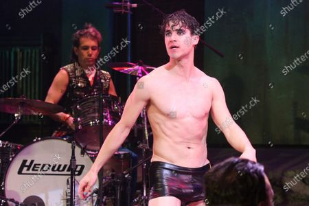 """Darren Criss taking his curtain call after his first performance in the Broadway musical """"Hedwig and the Angry Inch"""" at the Belasco Theatre in New York City on April 29, 2015.  Photo Credit: Henry McGee/MediaPunch"""