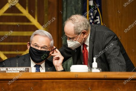 Senate Foreign Relations Committee Chairman Robert Menendez (D-N.J.) listens to Sen. Jim Risch (R-Idaho) prior to a Senate Foreign Relations Committee confirmation hearing for Samantha Power, nominee to be Administrator of the United States Agency for International Development,