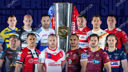 Stock Picture of The Betfred Super League captains of 2021 (Back row, l-r) Jack Hughes (Warrington), Danny Houghton (Hull FC), Luke Gale (Leeds), Liam Hood (Leigh), Benjamin Garcia (Catalans), Shaun Kenny-Dowall (Hull KR). Front Row (l-r) Michael Shenton (Castleford), Lee Mossop (Salford), James Roby (St Helens), Thomas Leuluai (Wigan), Aidan Sezer (Huddersfield), Jacob Miller (Wakefield).