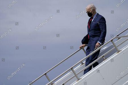 President Joe Biden arrives at John Glenn Columbus International Airport, in Columbus, Ohio