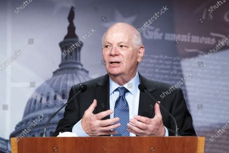 Sen. Ben Cardin, D-MD, speaks during a press conference on Capitol Hill in Washington, DC, USA, on 23 March 2021. Cardin spoke on the need for extended COIVD-19 financial relief for small businesses.