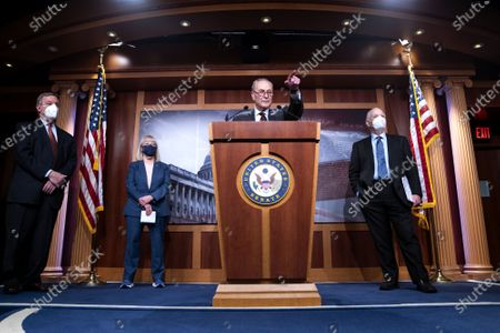 Senate Majority Leader Charles Schumer, D-NY, joined by Sen. Richard Durbin, D-IL, Sen. Ben Cardin, D-MD, and Sen. Patty Murray, D-WA, holds a press conference following the Senate policy luncheon on Capitol Hill in Washington, DC, USA, on 23 March 2021.